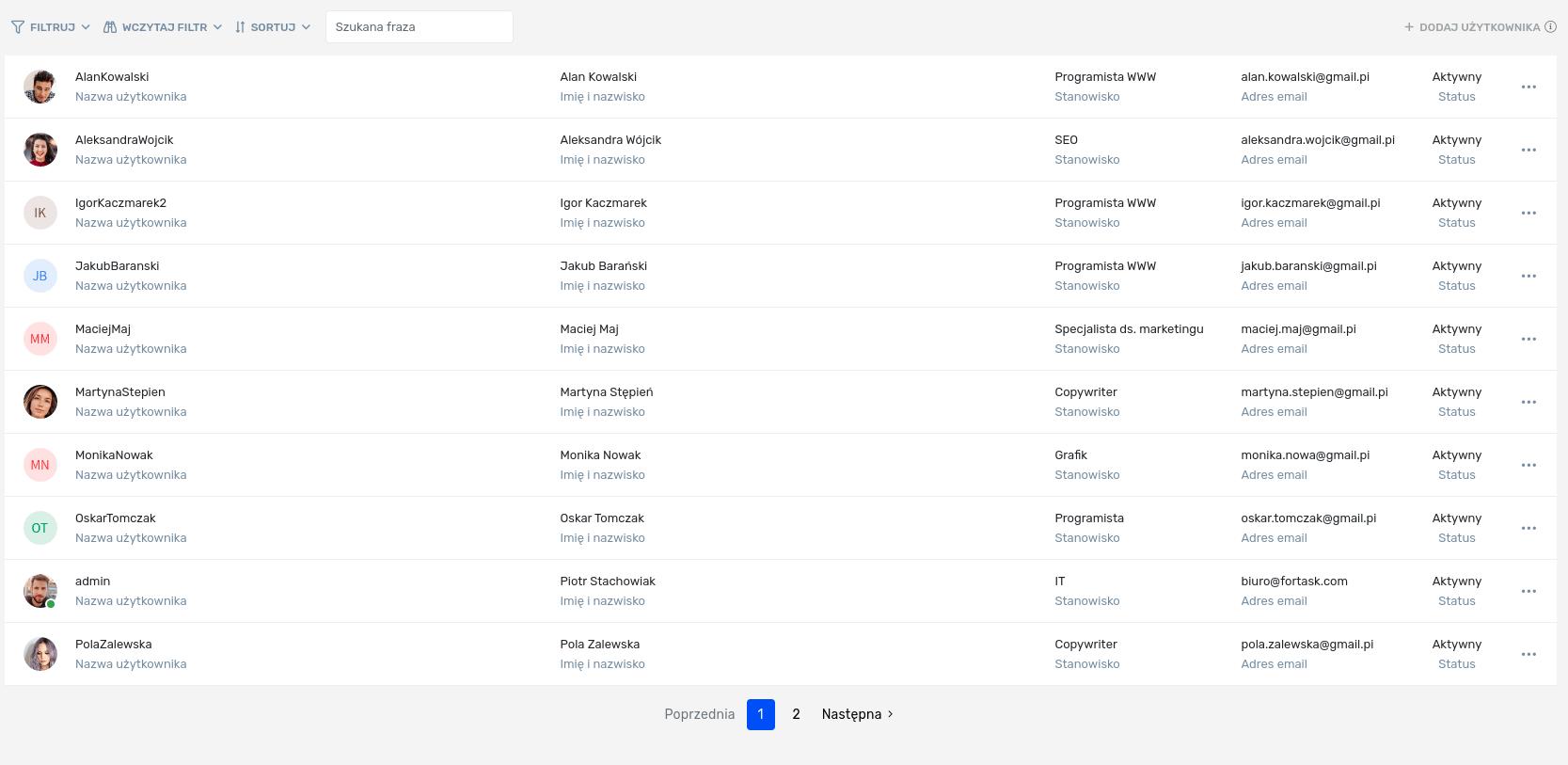 Lista użytkowników