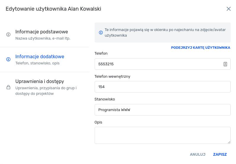 Edycja użytkownika - informacje ogólne