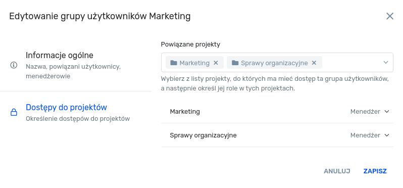 Widok edycji grup użytkowników - dostępy do projektów