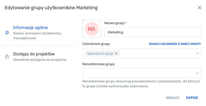 Widok edycji grup użytkowników - informacje ogólne
