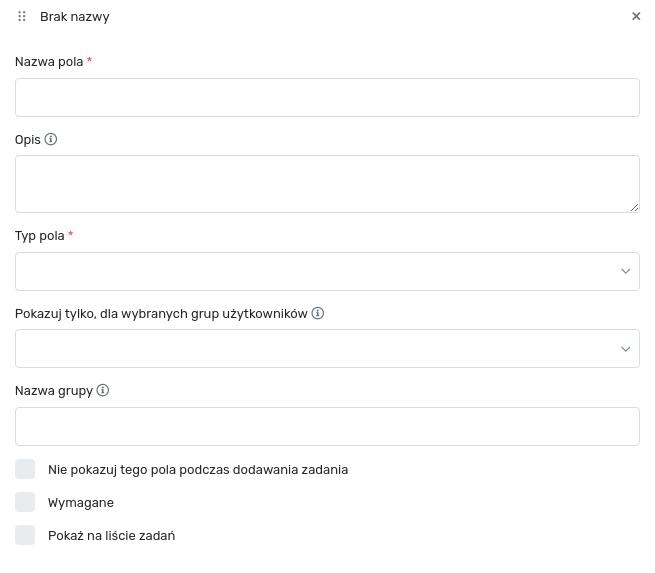 Formularz dodawania pola dodatkowego